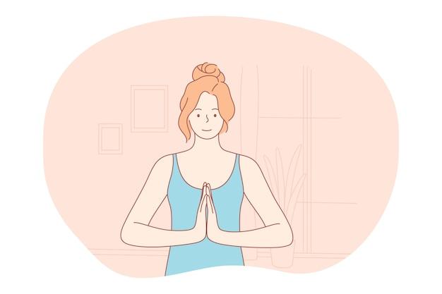 Concetto di stile di vita sportivo sano di meditazione yoga