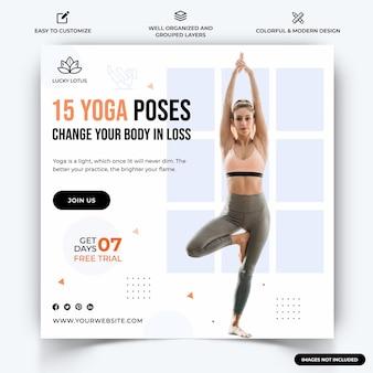 Yoga meditazione instagram post web banner template vettore vettore premium