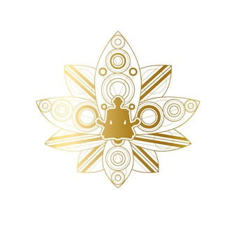 Progettazione di etichette di yoga e meditazione, silhouette femminile in modello di posa del loto dorato. salone di bellezza o centro benessere per il relax emblema o elemento di branding vector illustration