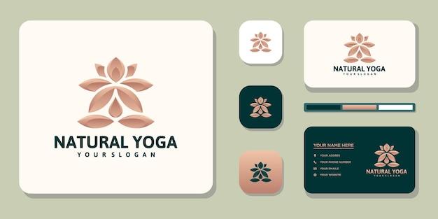 Logo di meditazione yoga e design del biglietto da visita vettore premium