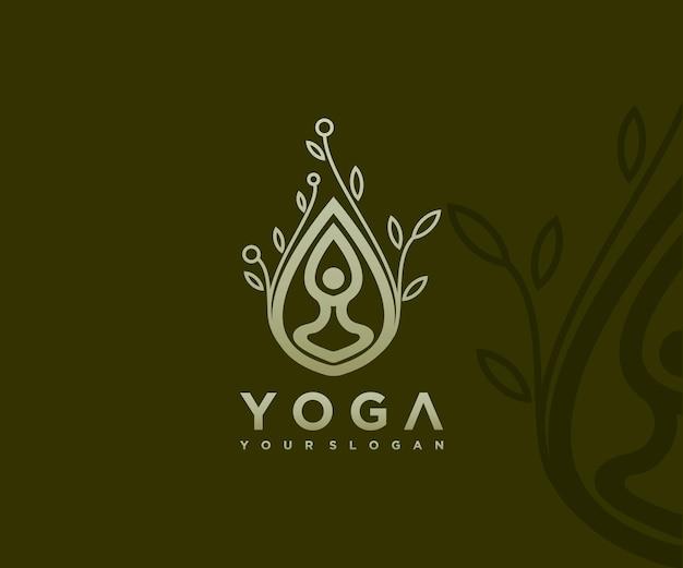 Logo di meditazione yoga vettore premium