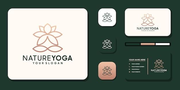 Meditazione yoga con logo linee astratte e design biglietto da visita vettore premium