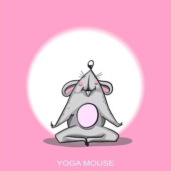 Personaggio dei cartoni animati del topo di yoga che pratica il set di caratteri del topo di yoga illustrazione positiva del ratto per un'auto o illustrazione vettoriale
