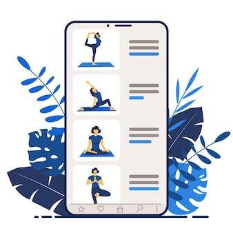 Yoga online girl coach sullo schermo di uno smartphone conduce una lezione corsi di yoga o progettazione di siti web