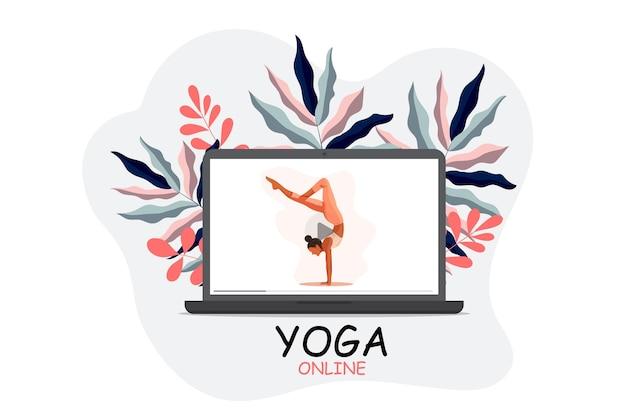 Modello di laptop online di yoga con ragazza che fa yoga
