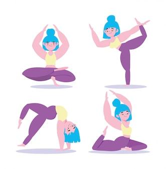 Yoga online, donna in diversi esercizi di posa yoga