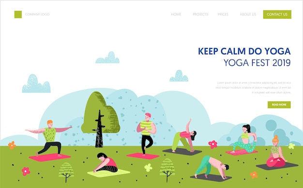 Yoga nel modello di pagina di destinazione del parco. caratteri di persone attive di allenamento all'aperto che meditano, fanno yoga per sito web o pagina web. modifica facile. illustrazione vettoriale