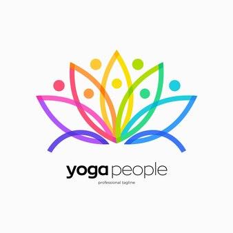 Design del logo delle persone yoga realizzato con loto colorato