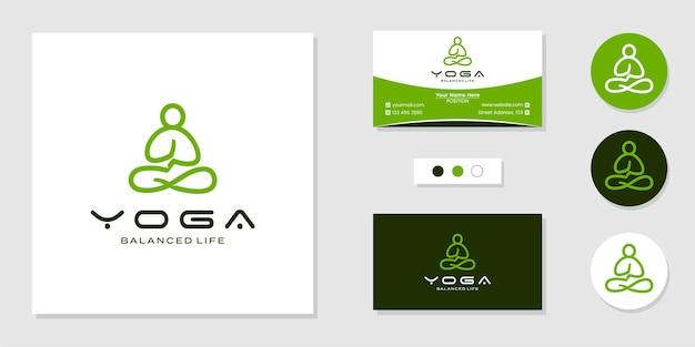 Yoga persone logo linea arte design e modello di biglietto da visita