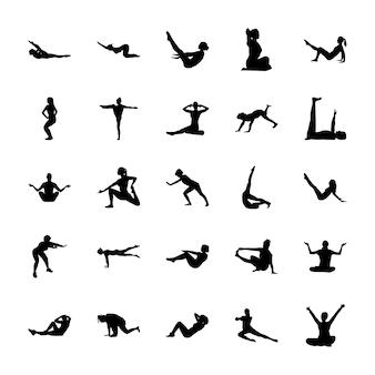 Pack di icone pittogramma yoga
