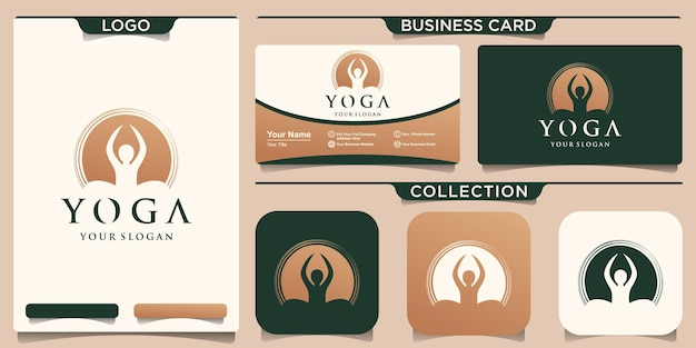 Logo e biglietto da visita di posa di yoga