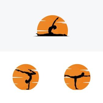Logo di posa di yoga sulla siluetta del profilo di tramonto. illustrazione vettoriale