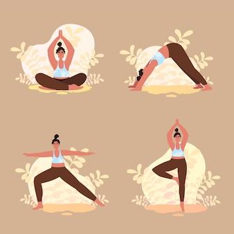 Pose di yoga e asana con donna e stretching in stile cartone animato piatto