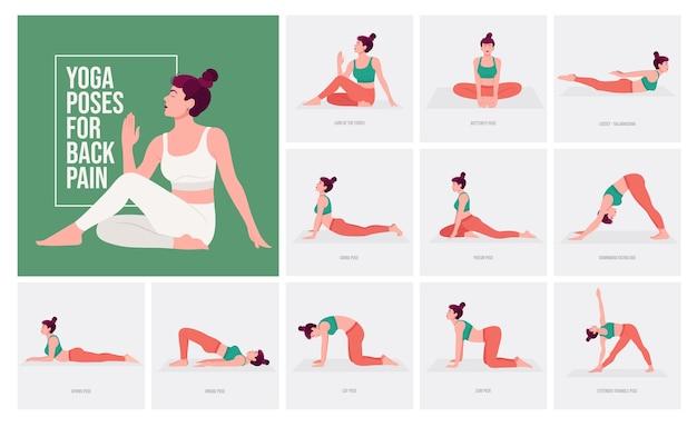 Posizioni yoga per il mal di schiena giovane donna che pratica posizioni yoga