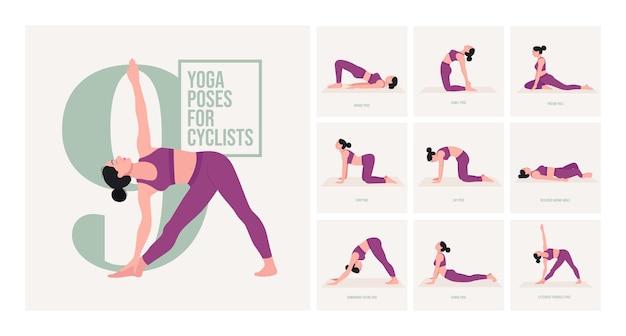 Posizioni yoga per ciclisti di costruzione giovane donna che pratica posizioni yoga
