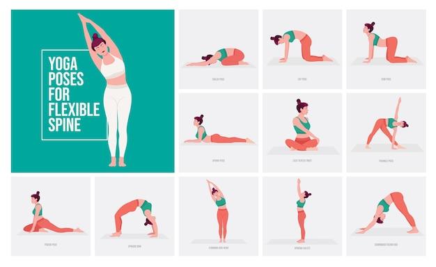 Posizioni yoga per colonna vertebrale flessibile giovane donna che pratica posizioni yoga