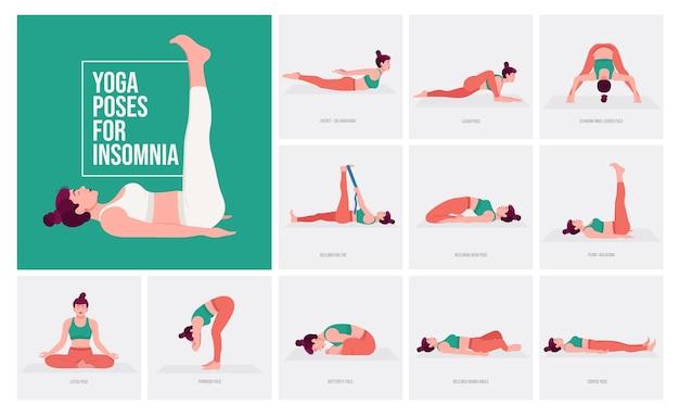 Posizioni yoga per l'insonnia giovane donna che pratica posizioni yoga