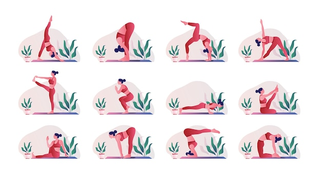 Set di pose di yoga giovane donna che pratica pose di yoga
