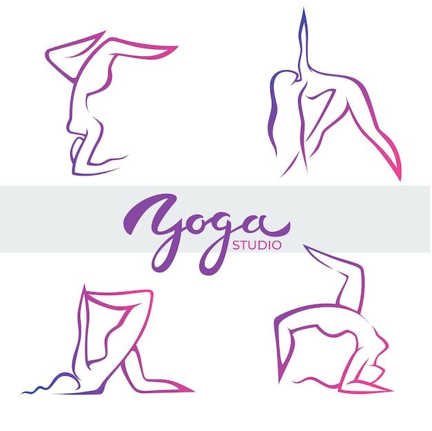 Posizioni yoga, modello di logo vettoriale con composizione di lettere e corpo di donna