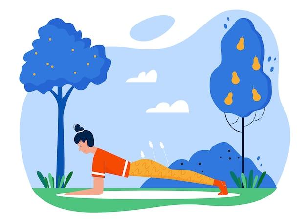 Illustrazione piana di vettore di attività sportiva di pratica di yoga.