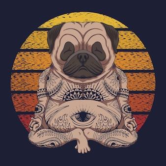 Retro illustrazione di tramonto del cane del pug di yoga