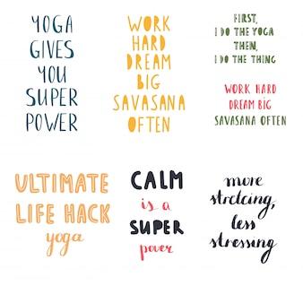 Le citazioni di yoga vector la raccolta stabilita Vettore Premium