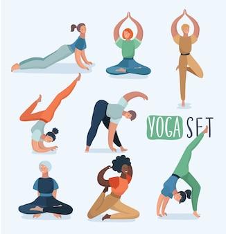 Set yoga con donne in pose diverse. illustrazione nel moderno concetto di esercizi di yoga. carattere femminile diverso.