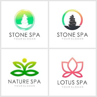 Ispirazione per il design del set di icone logo yoga e spa