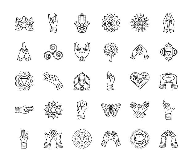 Icone linea sottile armonia spirituale yoga