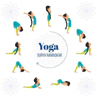 Modello di progettazione di banner yoga surya namaskar