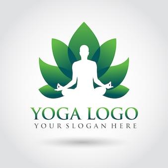 Modello di yoga logo design. stile minimalista zen logo Vettore Premium