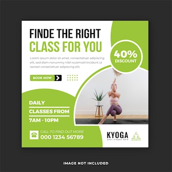 Modello di post sui social media per l'allenamento yoga e il fitness