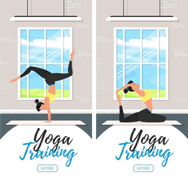 Volantini verticali di formazione yoga in stile piatto. giovane ragazza attraente in abiti sportivi a praticare yoga al coperto. stile di vita sano, calma e meditazione. armonizza te stesso in studio