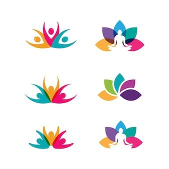 Illustrazione di disegno dell'icona di vettore di yoga template
