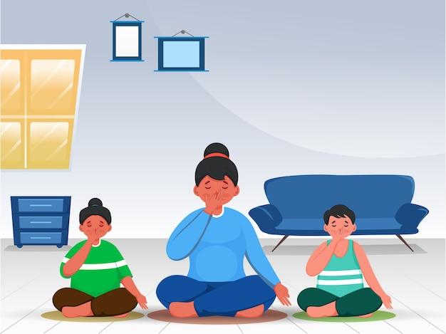 Yoga con il concetto di famiglia