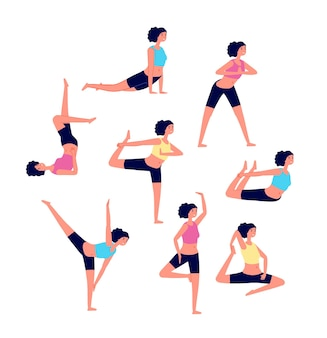 Allenamento yoga. serie di esercizi di stretching femminili