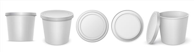 Contenitore per yogurt. la margarina vuota bianca circolare realistica diffonde il modello del pacchetto del burro o del formaggio fuso. illustrazione vettoriale isolato