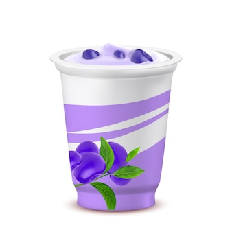 Yogurt dessert tazza vuota con il vettore di mirtillo. farina di latte dieta yogurt con mora biologica naturale. piatto di latticini bio eatery con illustrazione 3d realistica del modello di bacche di vitamina Vettore Premium