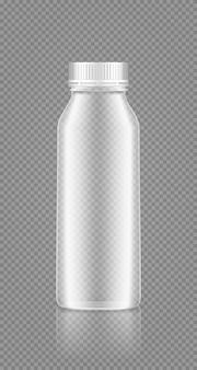 Yogurt, latte, succo bottiglia trasparente vuota con coperchio mockup