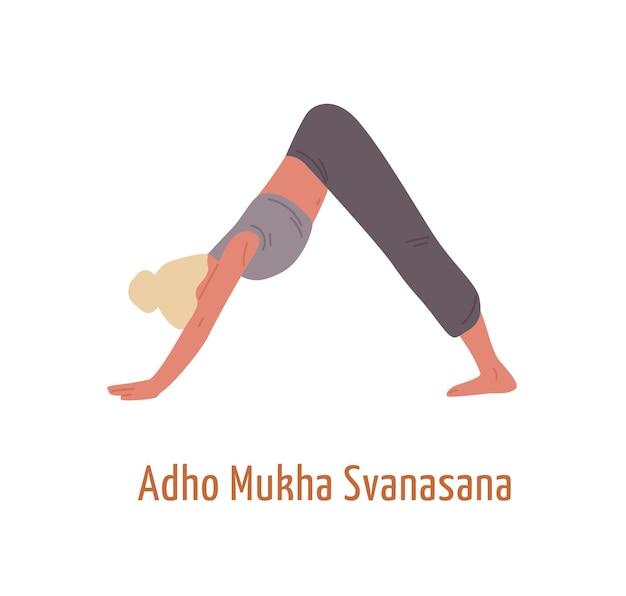 Yogi femmina in adho mukha svanasana postura piatto illustrazione vettoriale. donna che dimostra posa del cane verso il basso isolata su bianco. ragazza in buona salute attiva che pratica esercizio di yoga.