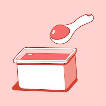 Yogurt tazza e cucchiaio illustrazione isolato su uno sfondo bianco.