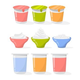 Set di yogurt. raccolta di crema prodotto in una tazza
