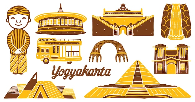 Punto di riferimento della città di yogyakarta in stile design piatto