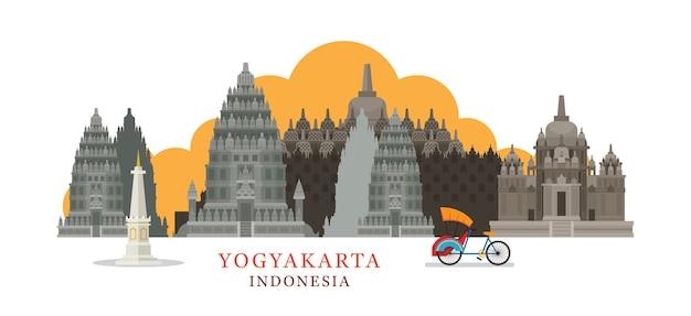 Punti di riferimento dell'orizzonte di yogyakarta indonesia