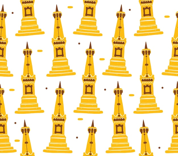 Yogyakarta monument seamless pattern in stile design piatto