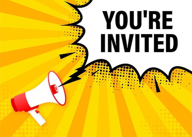 Siete invitati banner giallo megafono. illustrazione.