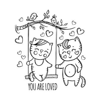 Sei amato gattino di san valentino e la sua ragazza che riposa nella natura in monocromatico disegnato a mano del fumetto di san valentino