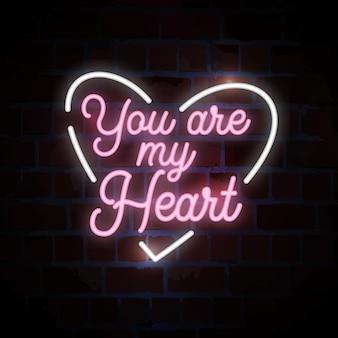 Tu sei il mio cuore lettering tipografia insegna al neon illustrazione
