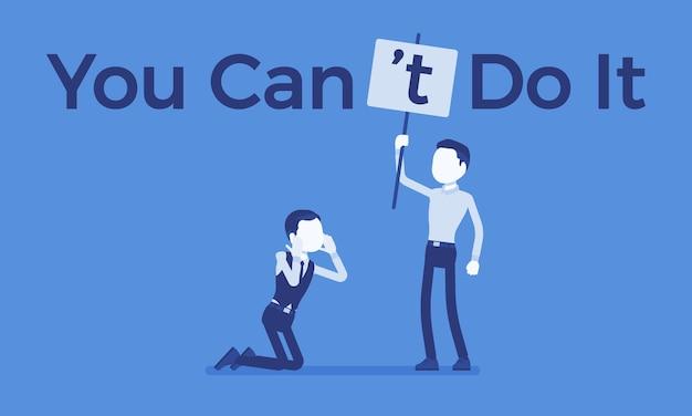 Non puoi farlo poster. uomo che corregge la costruzione grammaticale positiva in una dichiarazione negativa per sopprimere l'entusiasmo, la fiducia, il capo che mostra incredulità.