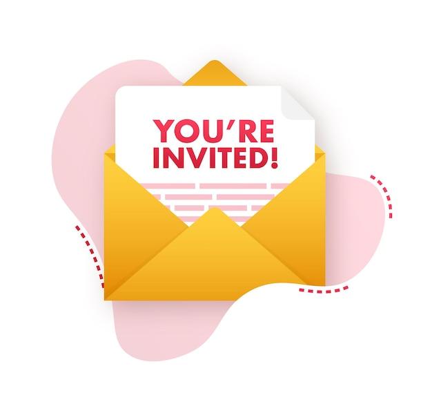 Sei stato invitato icona badge. scritto all'interno di una lettera busta. illustrazione vettoriale.